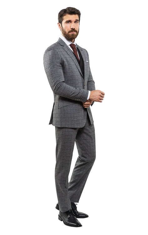 ANDREWS CHARCOAL MODERN FIT 3 PC SUIT