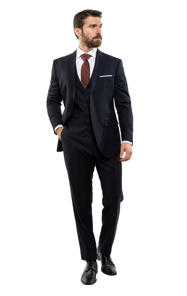 POOLE NAVY TAILORED FIT 3 PC SUIT