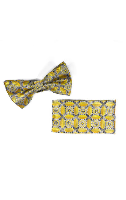 TRENTON YELLOW GEO BOWTIE & POCKET SQUARE