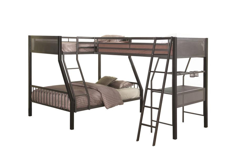 Twins over Full Triple Bunk Bed in Metal