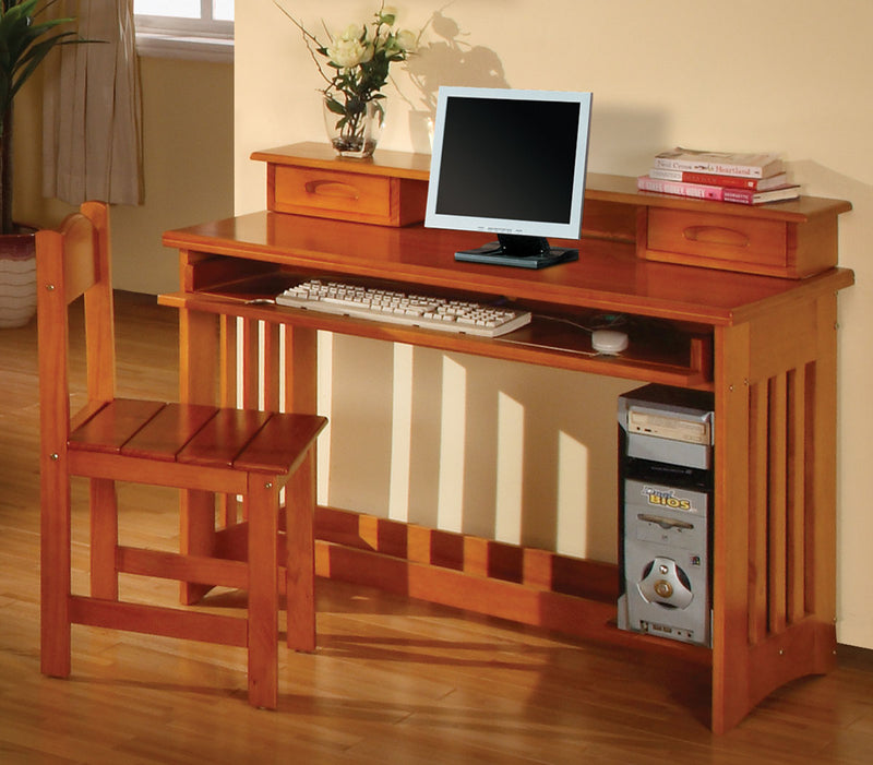Desk, Hutch & Chair in Pecan