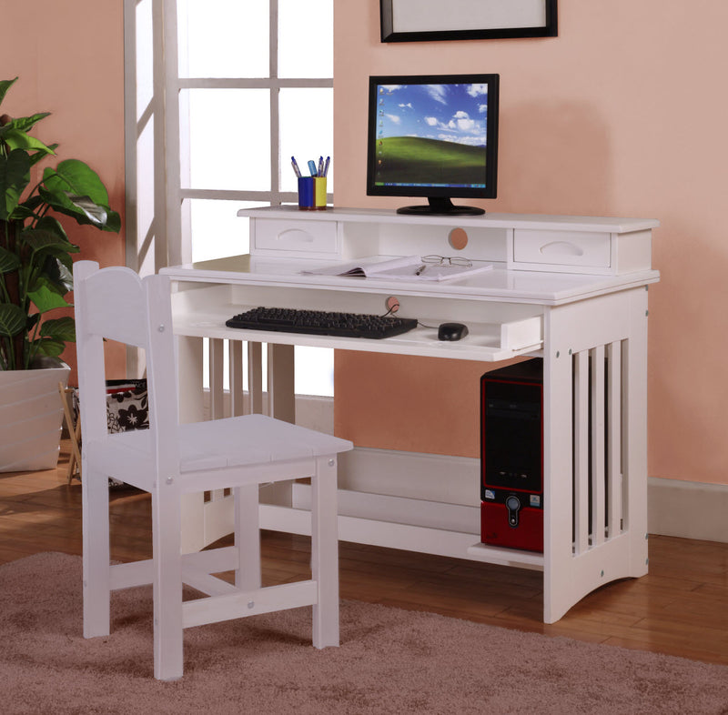 Desk, Hutch & Chair in White