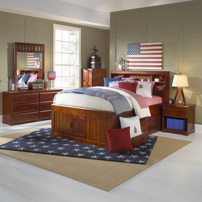 Twin Bookcase Captain's Beds in Merlot