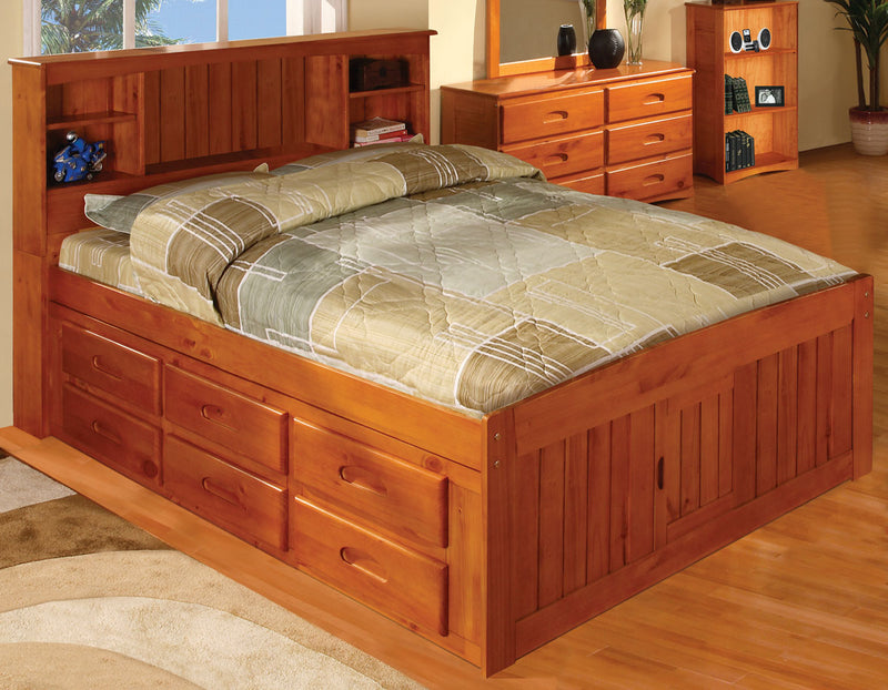 Full Bookcase Captain's Bed in Pecan