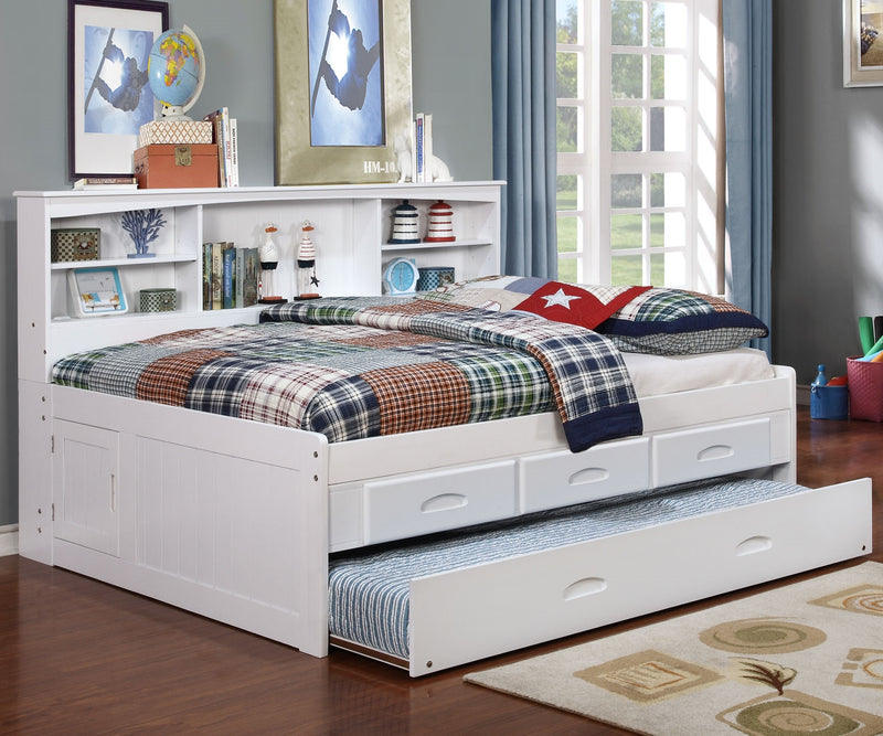Full Side Book Bed w/3 Drawer Pedestal & Trundle in White