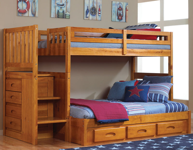 Twin/Full Staircase Bunk Bed in Pecan