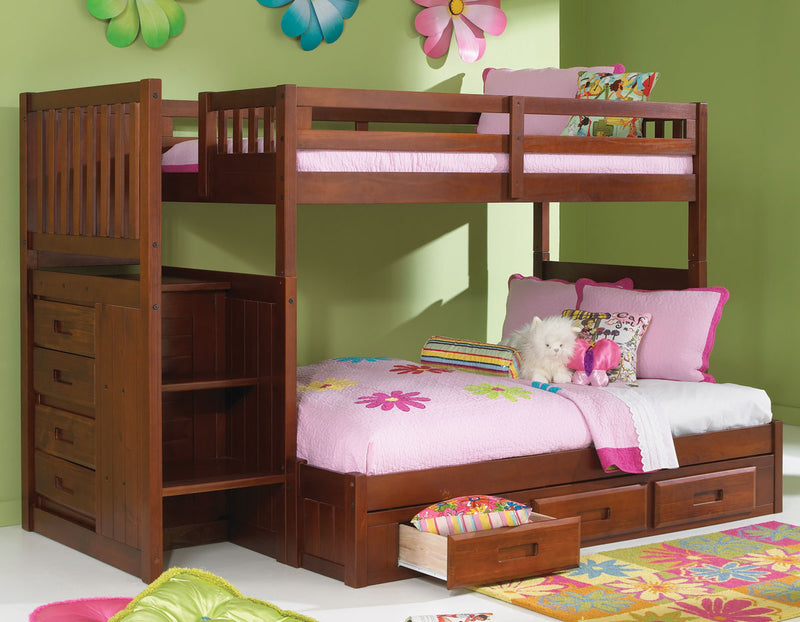 Twin/Full Staircase Bunk Bed in Brown