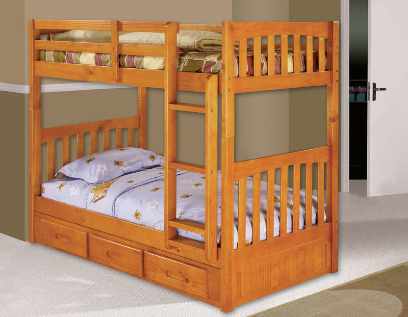Twin/Full Bunk Bed in Pecan