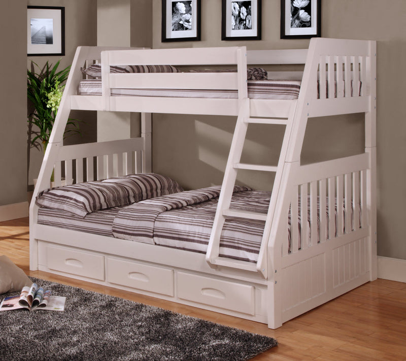 Twin/Full White Bunk Bed Only