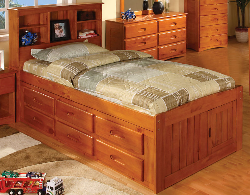 Twin Bookcase Captain's Beds in Pecan