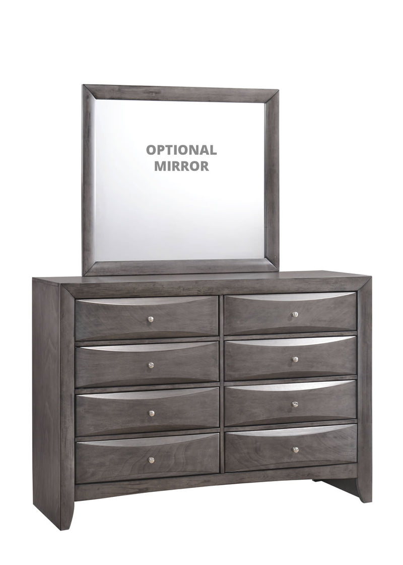 Grey 8 drawer dresser with optional mirror
