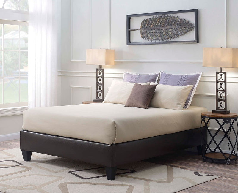 Queen Upholstered Brown Bed