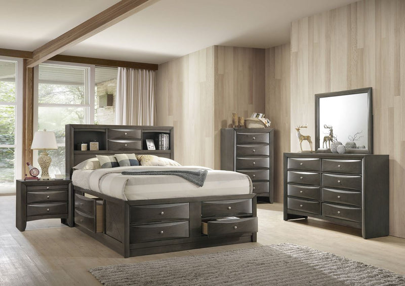 Grey king size captains bed with storage