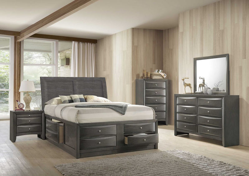 Grey king size panel bed with storage