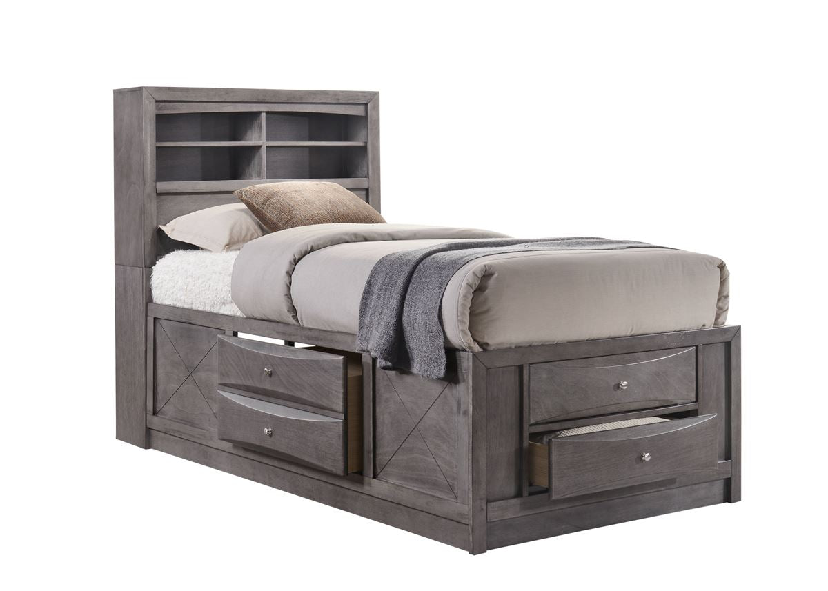 twin storage bed. Grey Captains Bed With Storage Twin