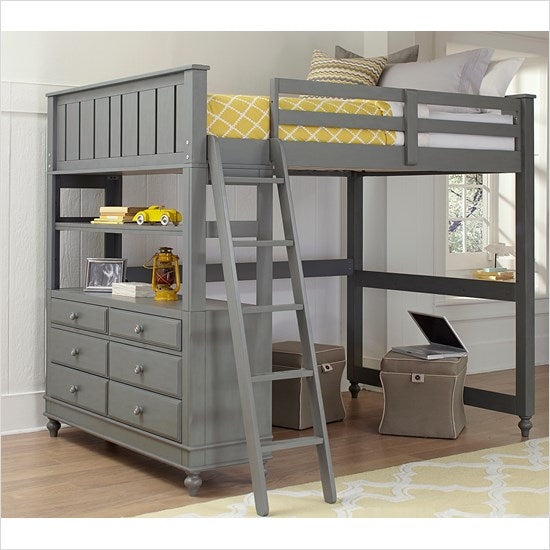 Full Lakehouse Loft Bed - Gray