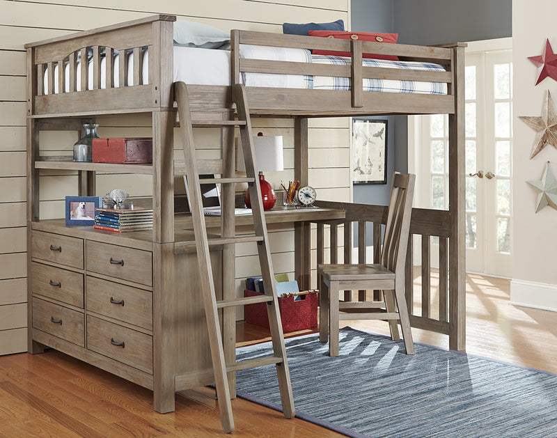 Full Highland Loft Bed w/Desk - Driftwood