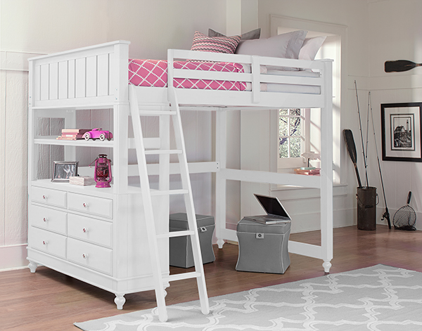 Full Lakehouse Loft Bed - White