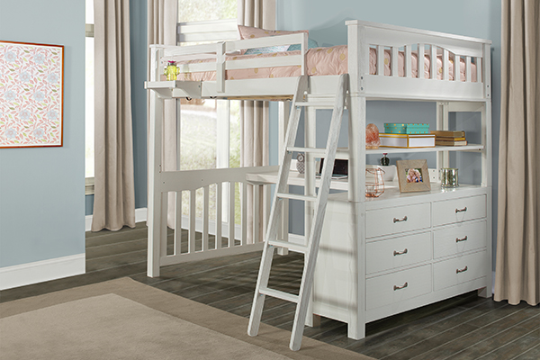 Full Highland Loft Bed - White