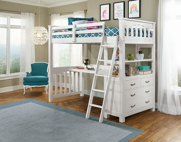 Twin Highland Loft Bed w/Desk - White