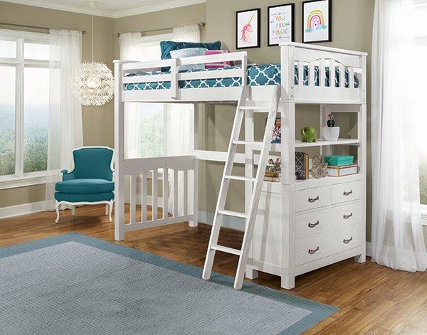Twin Highland Loft Bed - White