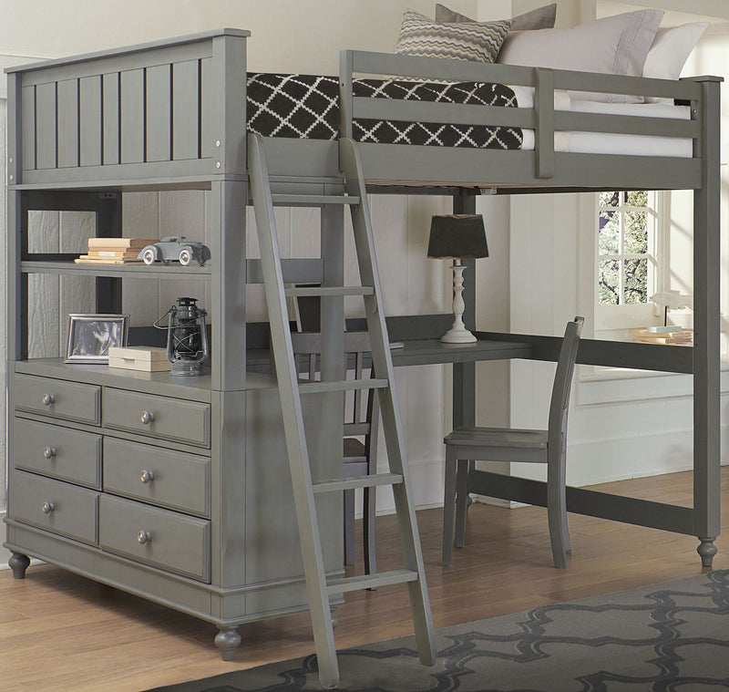 Full Lakehouse Loft Bed w/Desk - Gray