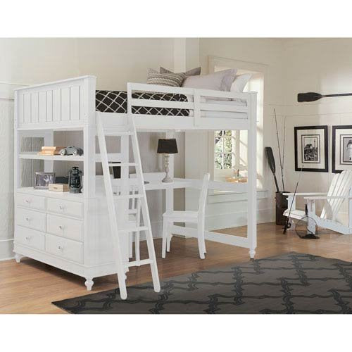 Full Lakehouse Loft Bed w/Desk - White