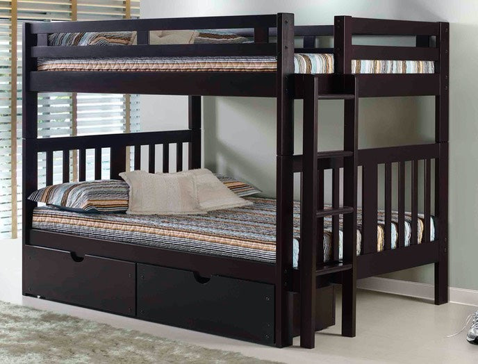 Full over Full Bunk Bed in Espresso
