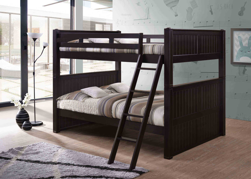 Queen over Queen Bunk Bed in Chocolate