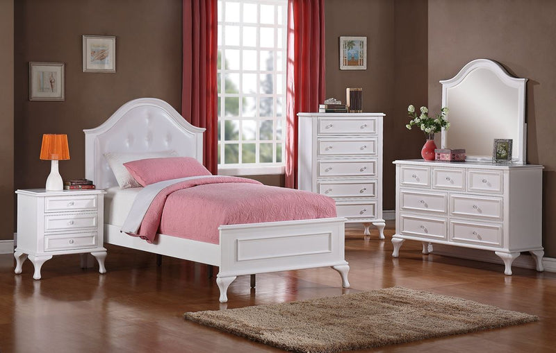 White twin bed with upholstered headboard