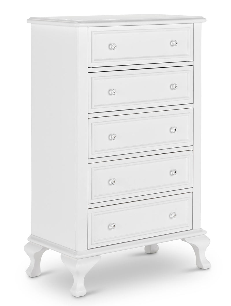 5 drawer white chest of drawers