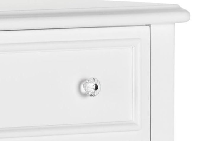 5 drawer white chest of drawers knob detail
