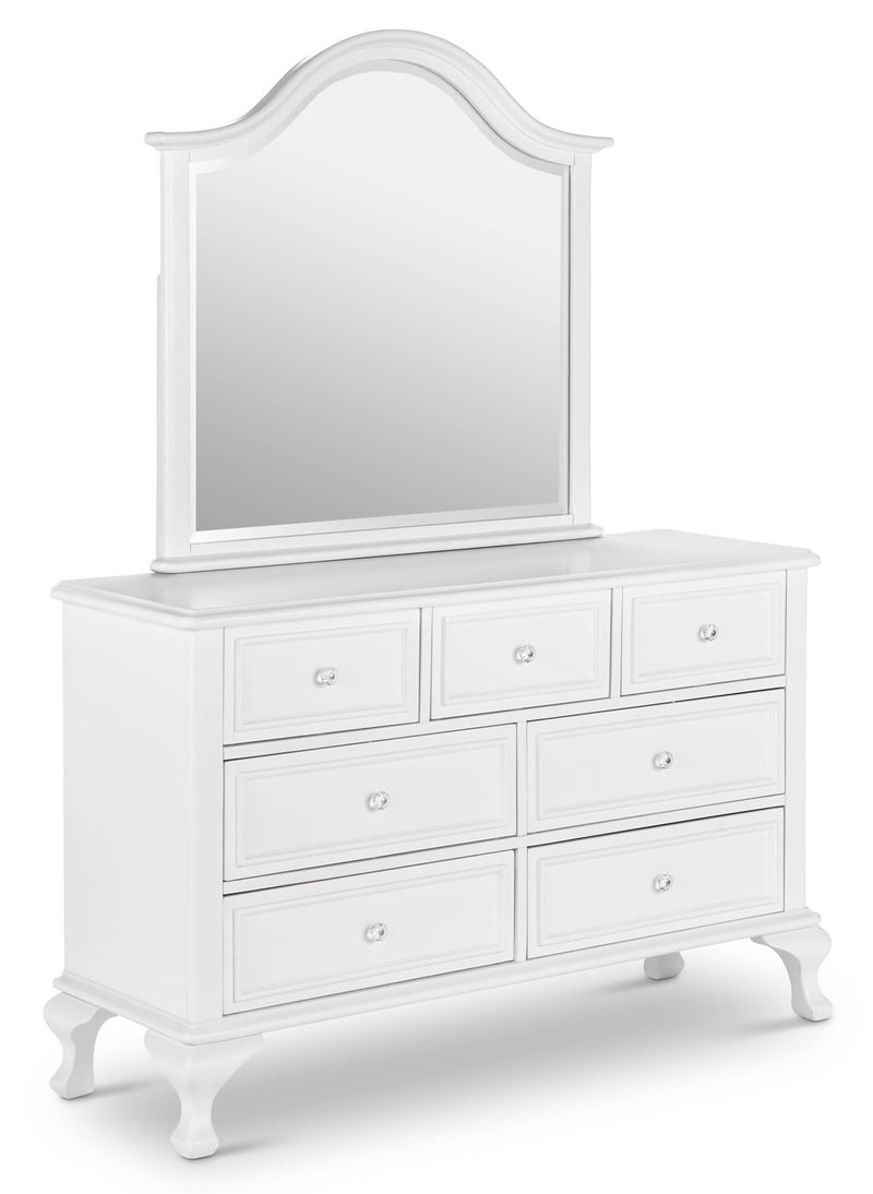 white dresser with optional mirror
