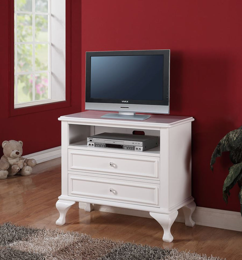 white media chest / tv stand with 2 drawers