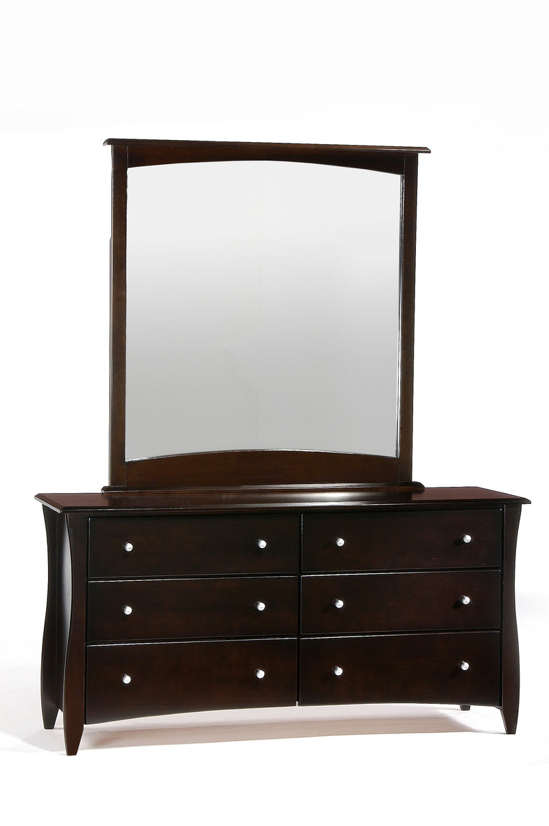 6 Drawer Dresser and Mirror in Chocolate