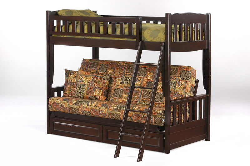 Futon Bunk Bed with Optional Under Storage in Chocolate