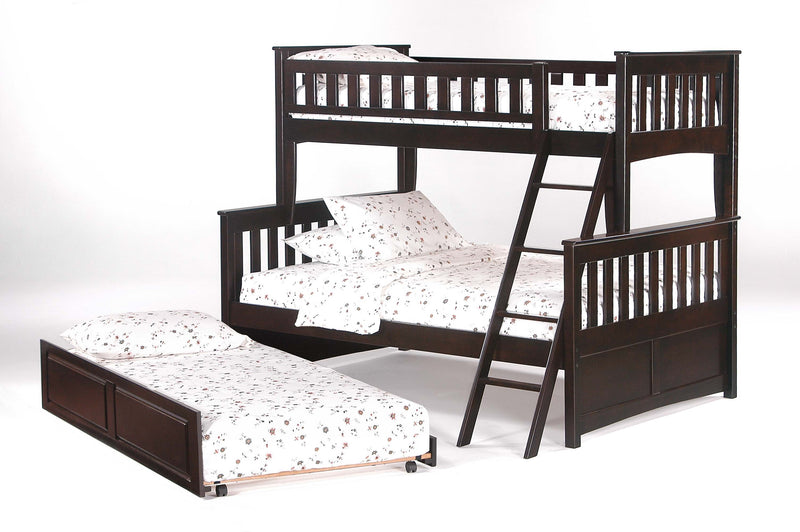 Twin over Full Bed in Chocolate w/Optional Trundle Unit