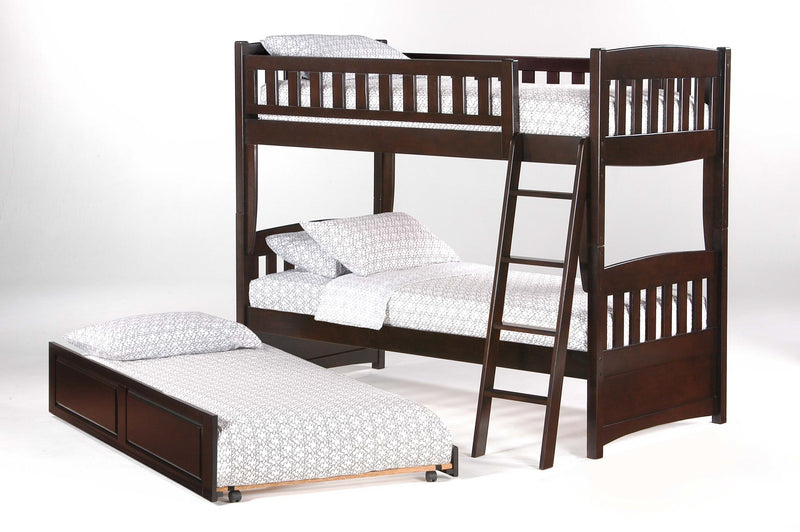 Twin over Twin Bunk Bed in Chocolate w/Optional Trundle Unit
