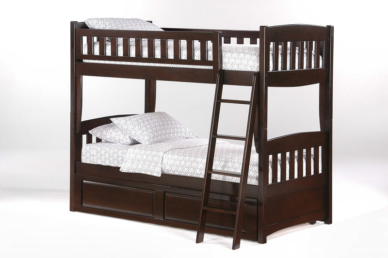 Twin over Twin Bunk Bed w/Optional Under Storage Unit in Chocolate