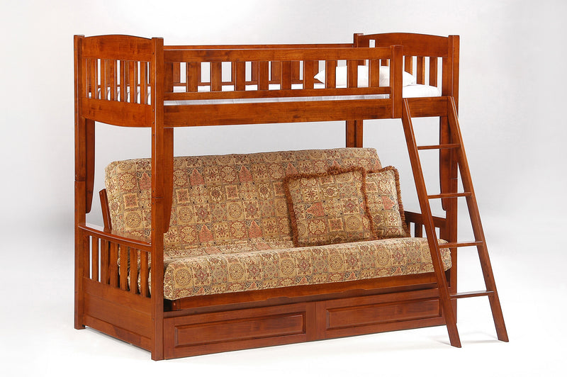 Futon Bunk Bed w/Optional Under Storage Unit in Cherry