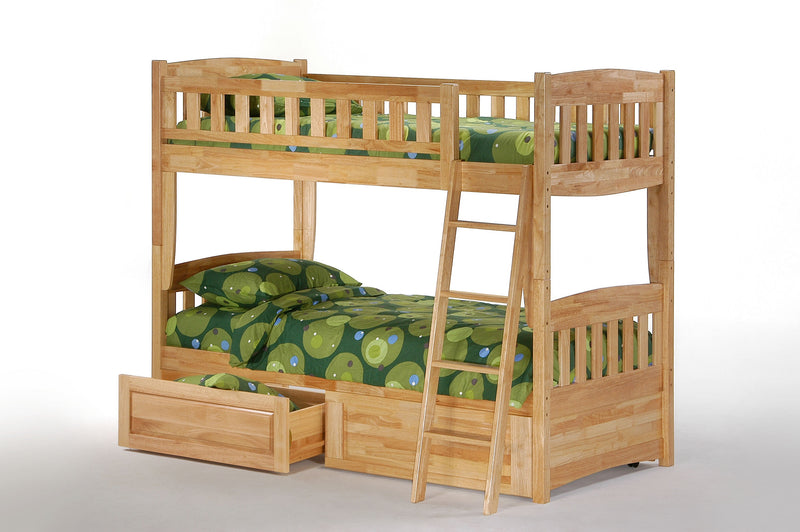 Twin over Twin Bunk Bed w/Optional Under Storage Unit in Natural