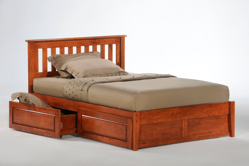Twin Full Queen King Platform Bed w/Optional Under Storage Unit in Cherry