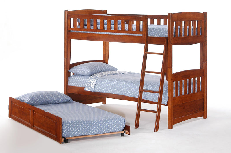Twin over Twin Bunk Bed w/Optional Trundle Unit in Cherry
