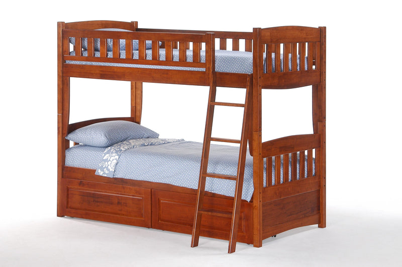 Twin over Twin Bunk Bed w/Optional Under Storage Unit in Cherry