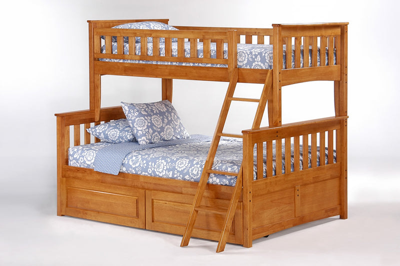 Twin over Full Bunk Bed in Oak w/Optional Under Storage Unit