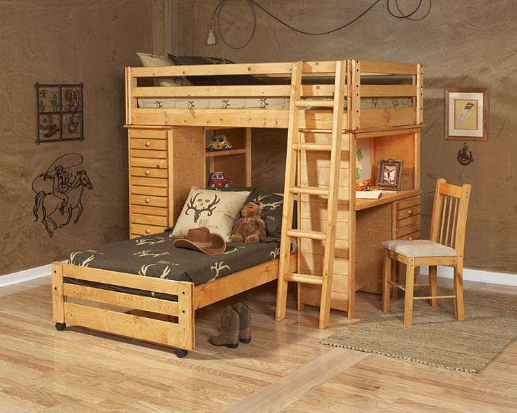 Twin Loft Bed w/Twin Lower Bed