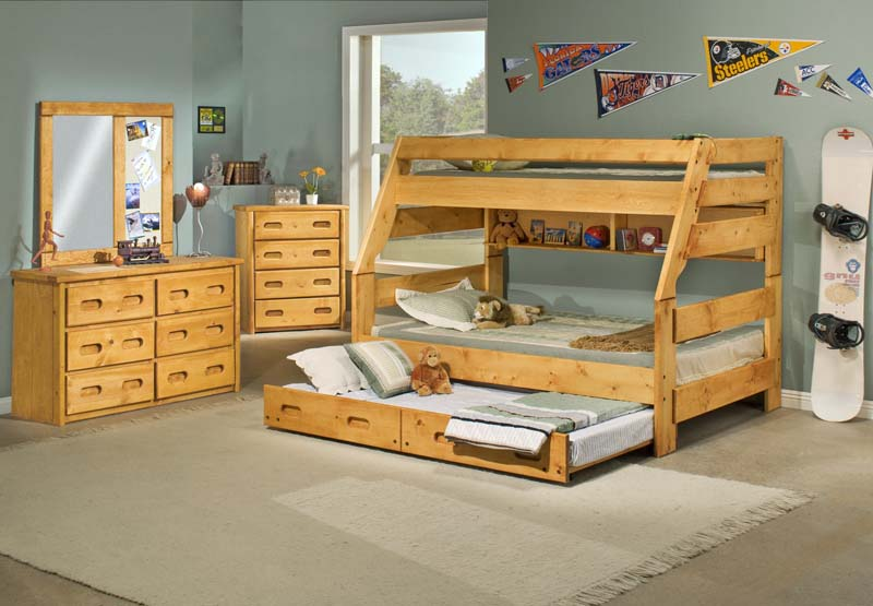 Twin over Full Bunk Bed in Cinnamon