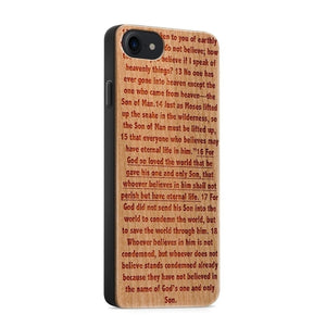 Wood Phone Case for iPhones and Samsung - John 3:16 - Adoration Apparel | Christian Shirts, Hats, for Women, Men and Toddlers