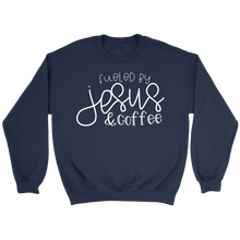 Load image into Gallery viewer, Fueled by Jesus & Coffee- shirts and hoodie - Adoration Apparel | Christian Shirts, Hats, for Women, Men and Toddlers