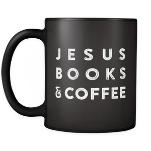 JESUS BOOKS & COFFEE - Black MUG - Adoration Apparel | Christian Shirts, Hats, for Women, Men and Toddlers